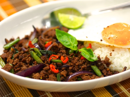 Thai style spicy basil fried minced beef